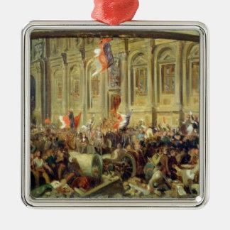 Alphonse de Lamartine Silver-Colored Square Decoration