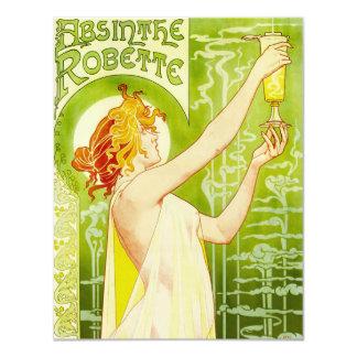 "Alphonse Mucha Absinthe Robette Invitations 4.25"" X 5.5"" Invitation Card"
