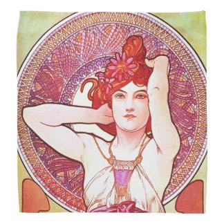 Alphonse Mucha Amethyst Floral Vintage Art Nouveau Bandana