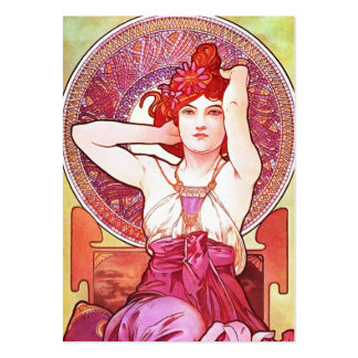 Alphonse Mucha Amethyst Floral Vintage Art Nouveau Pack Of Chubby Business Cards