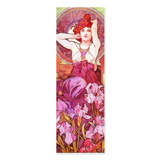 Alphonse Mucha Amethyst Floral Vintage Art Nouveau Pack Of Skinny Business Cards