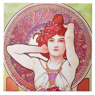 Alphonse Mucha Amethyst Floral Vintage Art Nouveau Large Square Tile