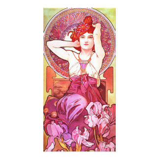 Alphonse Mucha Amethyst Floral Vintage Art Nouveau Picture Card