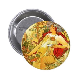 Alphonse Mucha Autumn Button