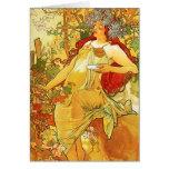 Alphonse Mucha Autumn Note Card