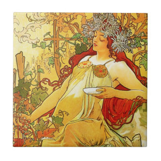 Alphonse Mucha Autumn Tile