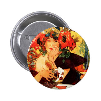 Alphonse Mucha Beer of the Muse Button