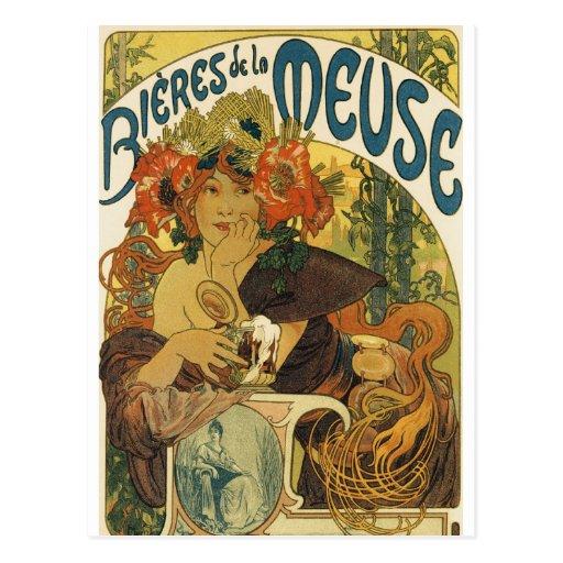 Alphonse Mucha - Bieres de la Muse Post Card