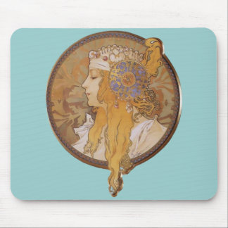Alphonse Mucha ~ Byzantine Head: The Blonde Mouse Pad