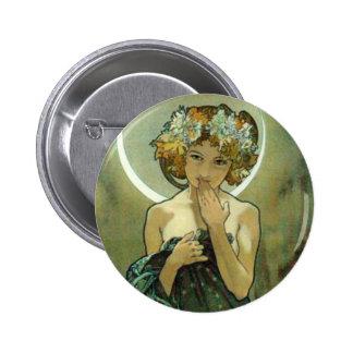 Alphonse Mucha Clair De Lune Button