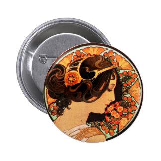 Alphonse Mucha Cow Slip Button
