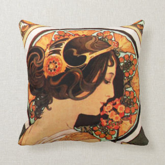 Alphonse Mucha Cow Slip Pillow Throw Cushion