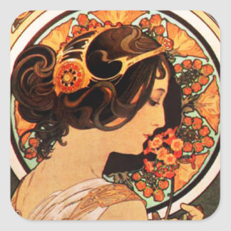 Alphonse Mucha Cow Slip Stickers