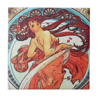 Alphonse Mucha Dance Vintage Art Nouveau Painting Small Square Tile