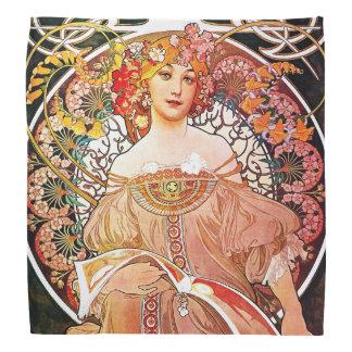 Alphonse Mucha Daydream Floral Vintage Art Nouveau Bandana
