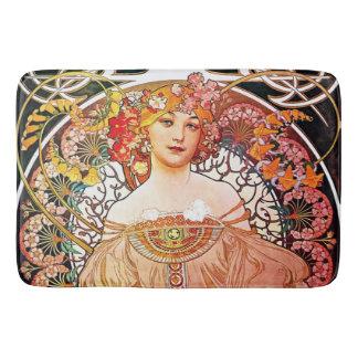 Alphonse Mucha Daydream Floral Vintage Art Nouveau Bath Mat