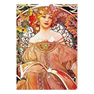 Alphonse Mucha Daydream Floral Vintage Art Nouveau Business Card Templates