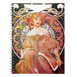 Alphonse Mucha Daydream Floral Vintage Art Nouveau Notebooks