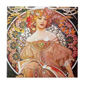 Alphonse Mucha Daydream Floral Vintage Art Nouveau Small Square Tile
