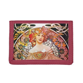 Alphonse Mucha Daydream Floral Vintage Art Nouveau Tri-fold Wallets