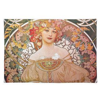 Alphonse Mucha Daydream Reverie Art Nouveau Lady Placemats