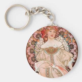 Alphonse Mucha: Daydream (Rêverie) Basic Round Button Key Ring
