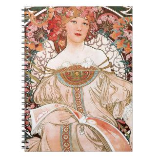 Alphonse Mucha: Daydream (Rêverie) Spiral Notebook