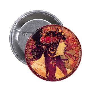 Alphonse Mucha Donna Orechini Button