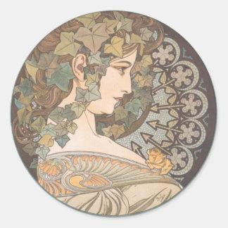 Alphonse Mucha - Erin Round Sticker