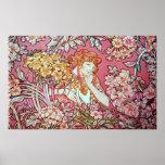 Alphonse Mucha. Femme Parmi Les Fleurs 1900 Poster