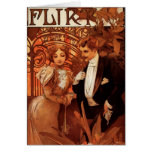 Alphonse Mucha Flirt Greeting Card