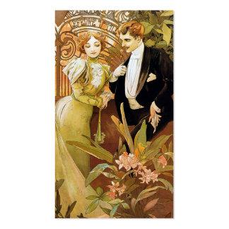 Alphonse Mucha Flirt Vintage Romantic Art Nouveau Business Card Templates