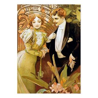 Alphonse Mucha Flirt Vintage Romantic Art Nouveau Business Card Template