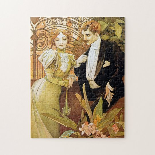 Alphonse Mucha Flirt Vintage Romantic Art Nouveau Jigsaw