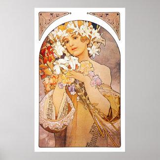 Alphonse Mucha Flower Wall Poster