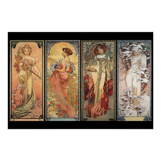 Alphonse Mucha Four Seasons Poster