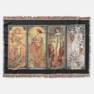 Alphonse Mucha Four Seasons Rugs Throw Blanket