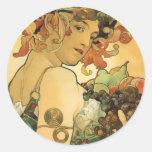 Alphonse Mucha ~ Fruit. 1897 Classic Round Sticker