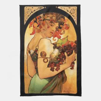 Alphonse Mucha Fruit Kitchen Towel
