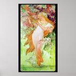 Alphonse Mucha Girl In Garden Wall Poster