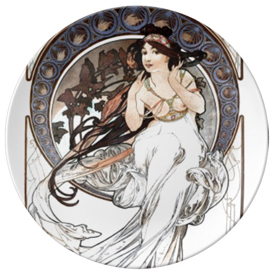 Alphonse Mucha girl Plate