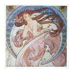 Alphonse Mucha Goddess Ceramic Tiles