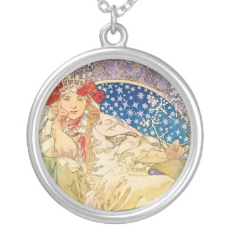 Alphonse Mucha Goddess Round Pendant Necklace
