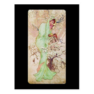 Alphonse Mucha Hiver Winter Postcard
