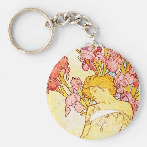 Alphonse Mucha Iris Key Chain