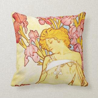 Alphonse Mucha Iris Pillow