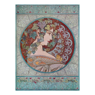 Alphonse Mucha Ivy Art Nouveau Poster Print
