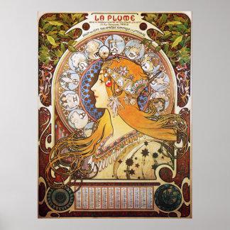 Alphonse Mucha. La Plume/Zodiac, 1896. Poster