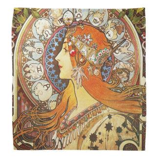 Alphonse Mucha La Plume Zodiac Art Nouveau Vintage Bandana