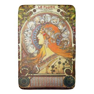 Alphonse Mucha La Plume Zodiac Art Nouveau Vintage Bath Mat